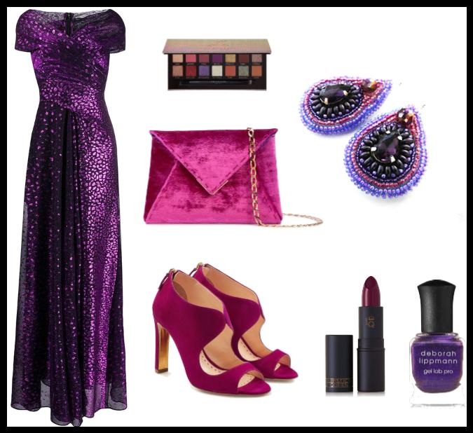 Fialové plesové šaty a šperky