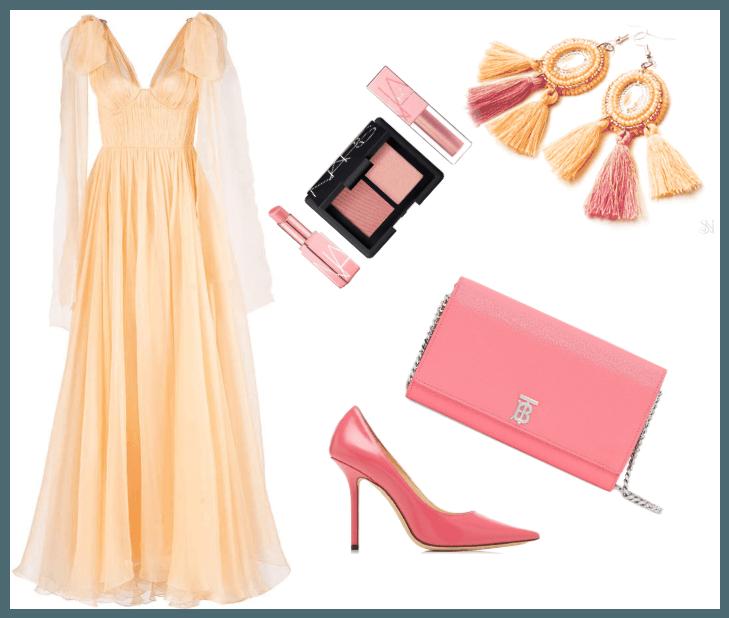 Ružové plesové šaty s náušnicami