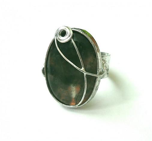 2a7f196ea cínovaný prsteň z liečivého minerálu achátu machového
