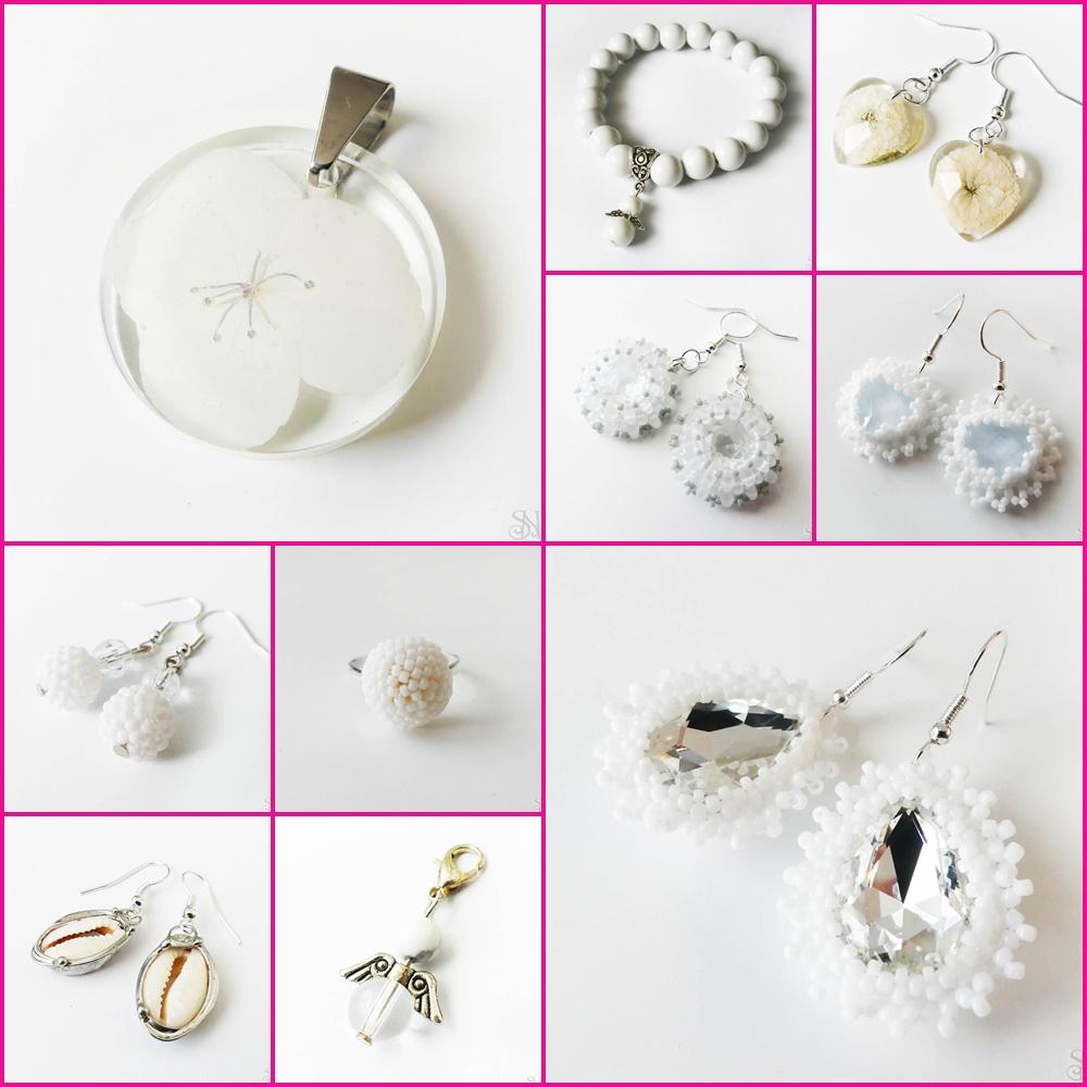 biele handmade šperky