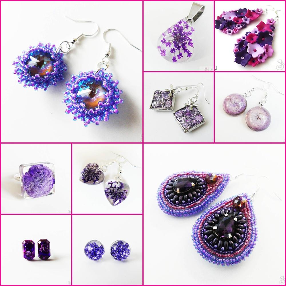 fialové handmade šperky