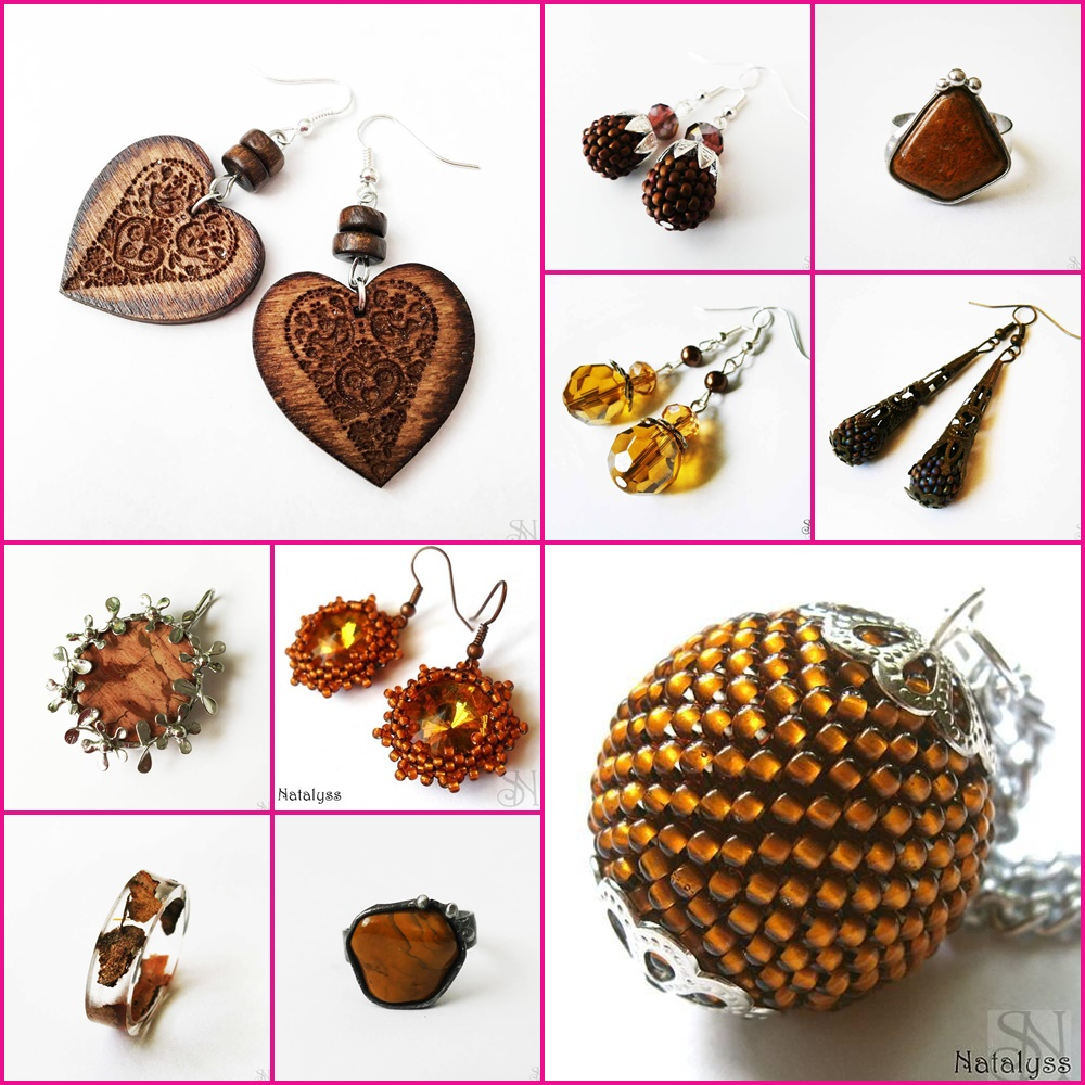 hnedé handmade šperky