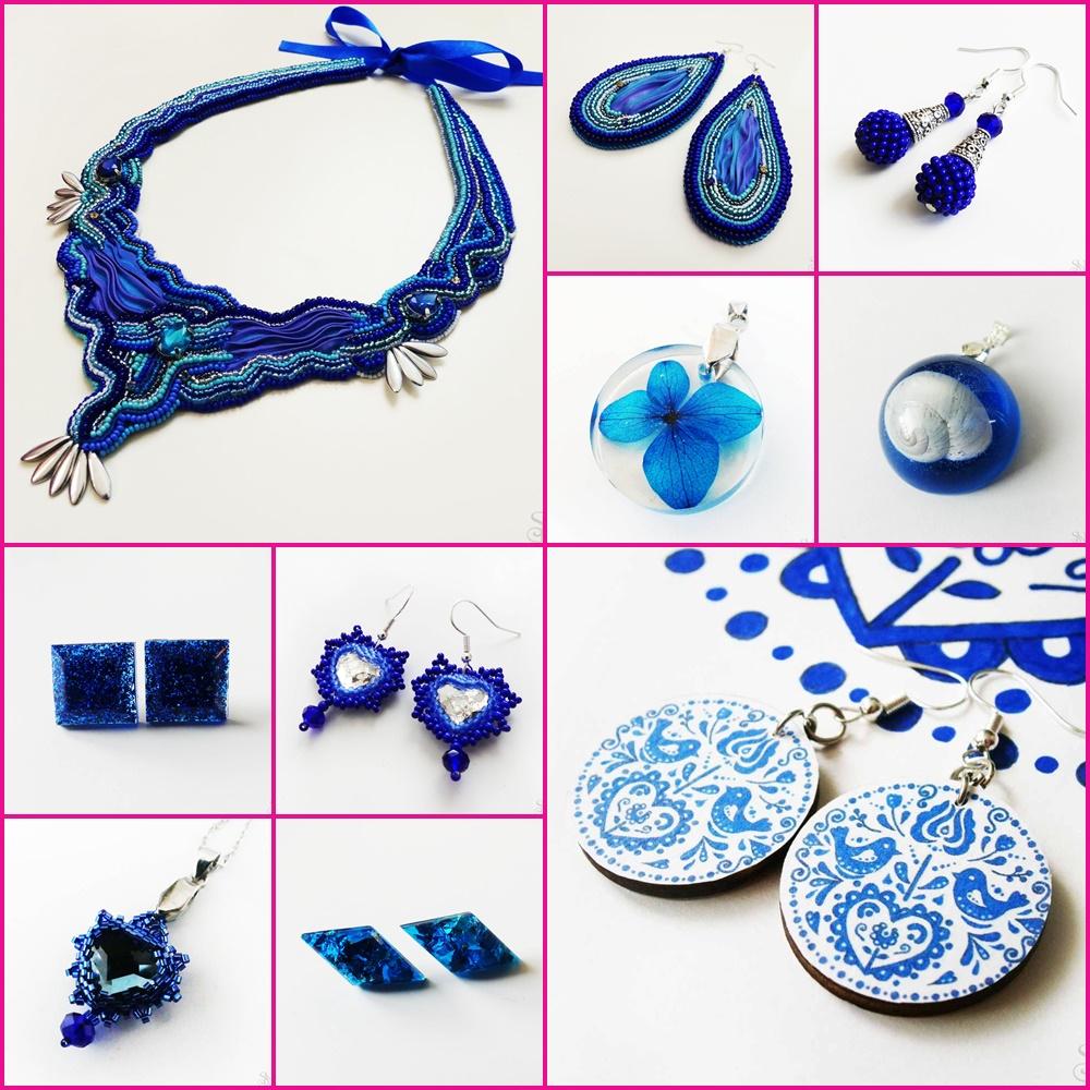 modré handmade šperky
