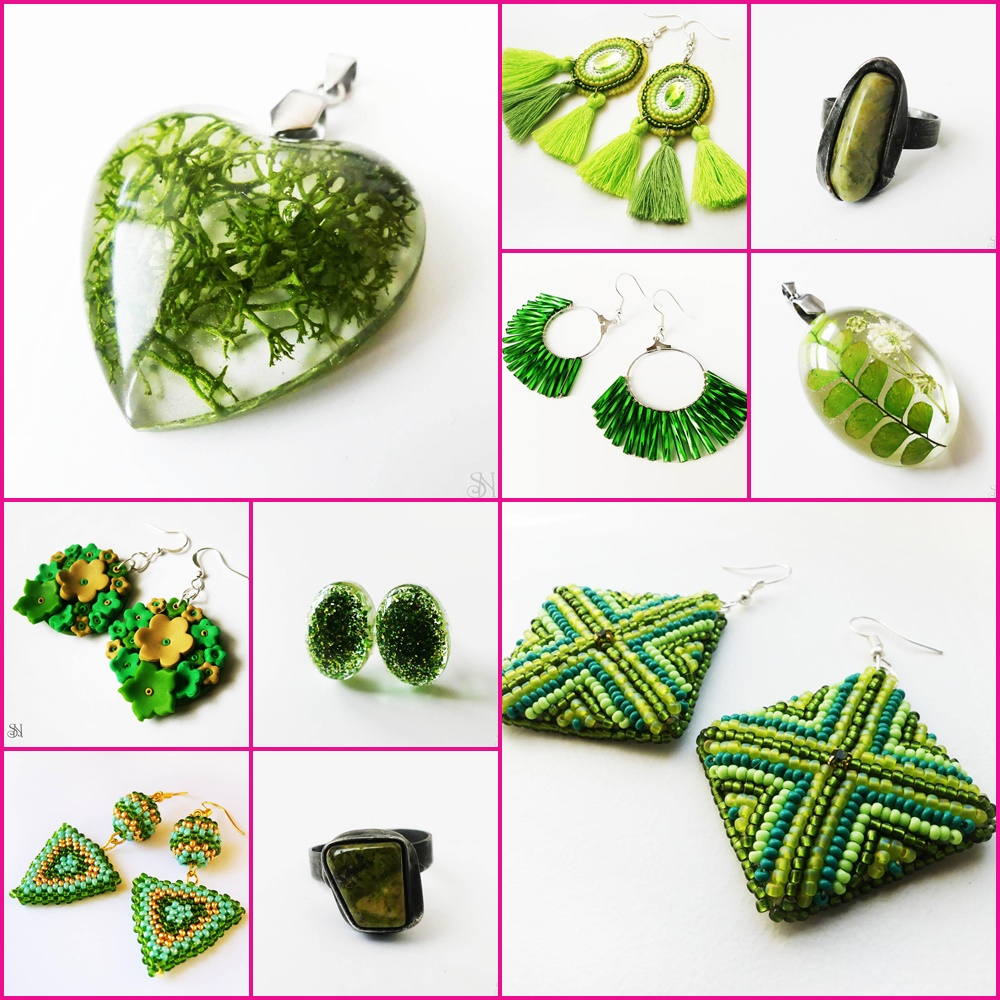 zelené handmade šperky