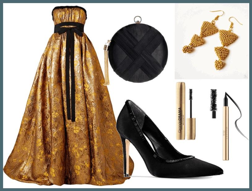 zlaté plesové šaty a náušnice